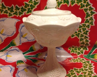 Vintage Indiana milk glass Harvest Grape tall covered candy dish or compote