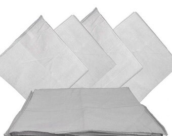 "White Solid Bandanas -  27"" x 27"" - 6 Pack (extra large) 100% Cotton"