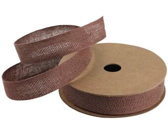"Brown Cotton/Lace Ribbon - 5/8"" x 25 Yards"