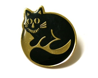 Cheshire Black Cat Pin Brooch Badge 1980s new dead stock