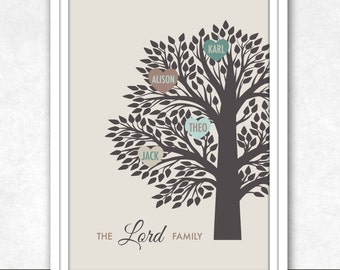 Personalised Family Tree . Printable Wall Art . Perfect For Any Special Occasion . Family Tree . Christmas Gift . Print It Yourself .