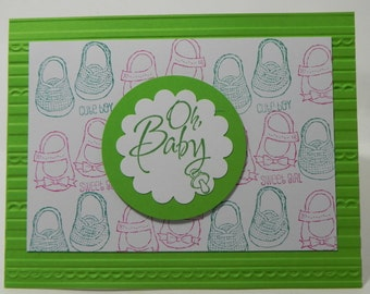 Oh Baby Baby We've Grown Hand Stamped Stampin Up Card