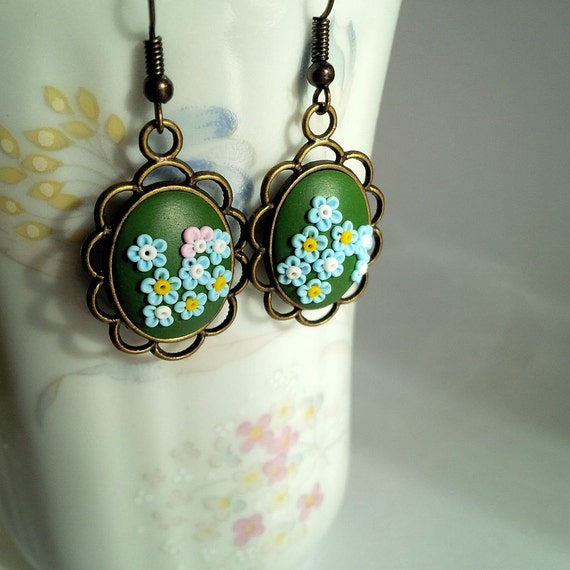 Green and Blue Filigree Flower Earrings made from Polymer clay / Optional clip-on