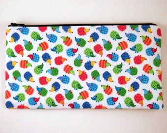 Hedgehog Pencil Case, Zipper Pouch, Pencil Pouch, Make Up Bag, Gadget Bag