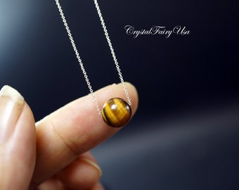 Sterling Silver Tiger's Eye Necklace - Tiny Tiger's Eye Choker - Gift For Her - Gemstone Necklace - Bridesmaid Gift