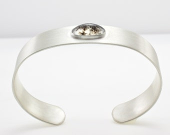 Sterling Silver Cuff Bracelet With Dendritic Quartz Cabochon - Comfort Fit Cuff Bracelet - Gemstone Bracelet - One of a Kind Artisan Jewelry