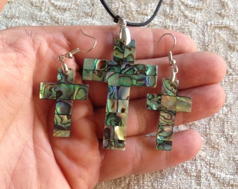 New Zealand Abalone Shell Cross Pendant + Earrings - Abalone Shell Cross Pendant - Abalone Shell Cross Earrings - New Zealand Abalone Shell