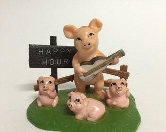 Cute Vintage Pig Figurine, Happy Hour, Drinking Pigs, Plastic, Musical Pigs