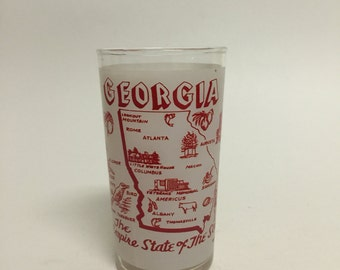 Georgia Souvenir Glass, Vintage Glass, Vintage Georgia