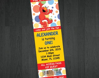 Elmo Ticket Invitations - Elmo Birthday Invitations - Ticket Invitations - Sesame Street Invitations - Birthday Invitations - Tickets