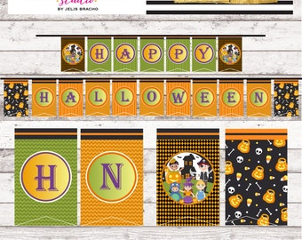 Trick or Treat Halloween Holiday Party Happy Halloween Banner Halloween Party Decor Printables Digital Files