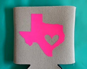 Texas with a heart Can Cooler/Can Hugger