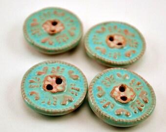 Vintage blue and pink ceramic buttons with impressed floral design, 4