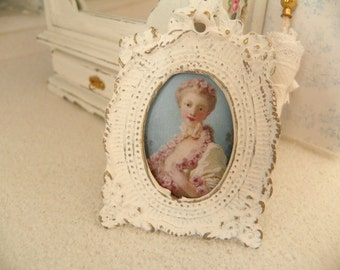 antique  miniature portrait of French lady- 1/12 scale