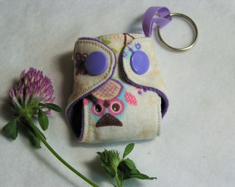 Lavender Owl print Basic Cloth Diaper Keychain diaper ornament, Diaper key chain diaper key fob
