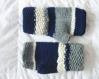 Handmade blue gray ivory cream knitted wrist warmers or fingerless gloves