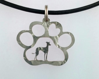 Your dog breed in a pawprint coin jewelry handmade pendant necklace