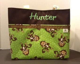 Personalized  extra large tote bag with lots of pockets made with monkeys, horses, whales, dirt bikes fabric