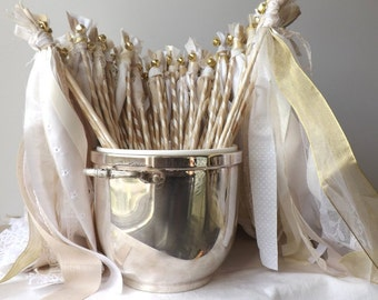 125 Wedding Wands, Double Streamer Party Favors, Wedding Send Off, Large Event Party Supply, Photo Props, Table Decor