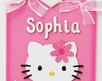 Personalized Girls Room Sign - Hello Kitty