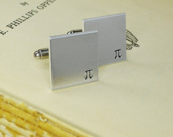 Pi Cuff Links - Hand Stamped Teacher Gift
