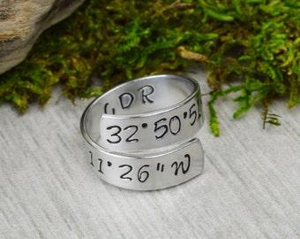 Latitude Longitude Coordinates Wrap Ring - Twist Ring
