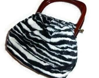 SALE MOD 60s Zebra Print Purse, Faux Fur Bag, Black & White Vintage Animal Jungle Handbag, African Safari Fashion, 1960s Wild Africa Gift