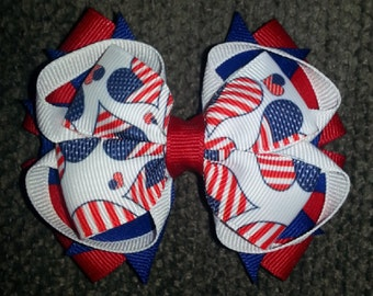 4th of July Patriotic USA Handmade Stacked Boutique Bow