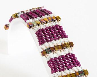 Herringbone Bracelet - Seed Bead Bracelet in Red Violet, Autumn Gold Iris, Crystal, Gilt Lined Crystal - Seed Bead Jewelry - Beadweaving