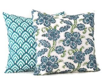 Blue Outdoor Pillow Cover, 16x16 Pillow Covers, Decorative Pillows, Outdoor decor, Lake house decor, Summer Pool Decor, Riley Lalo Oxford
