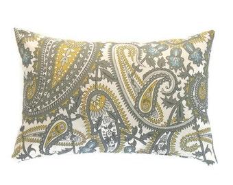 Gray Lumbar Pillow, 12x16 Pillow Cover, Yellow and Gray Paisley Decorative Pillows, Modern Throw Pillow Covers, Summerland Natural