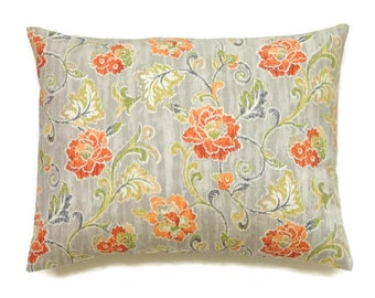 Lumbar Pillow, 12x18 Pillow Cover, Fall Pillow, Orange Grey Decorative Pillow, Floral Cushion Cover, Autumn Decor, Refresh Chili
