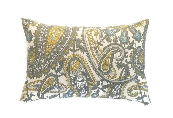 Gray Lumbar Pillow 12x16 Pillow Cover Yellow and Gray