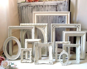 Antique Cream Vintage Frame Set, Set of 12 Cottage Light Cream Picture Frames, Frame Gallery, Made to Order Set of 12 Frames