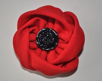 fabric flower poppy brooch vintage Remembrance Day Poppy