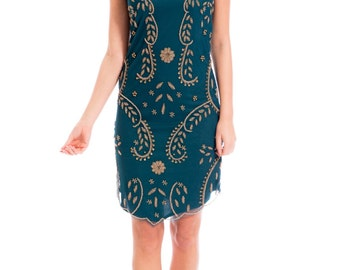 Teal Green 'SITA' dress with gold beads.