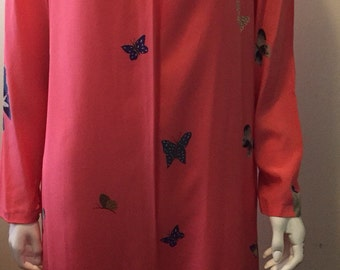 Vintage Hanae Mori pink silk butterfly dress gorgeous in rare size 16/L/XL