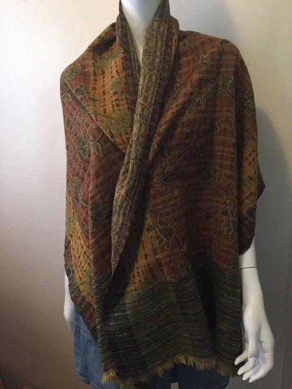 vintage wool autumn colors floral scarf wrap shawl bohemian