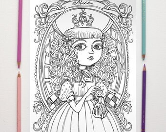 coloring page pdf alice in wonderland drink me lewis carroll instant