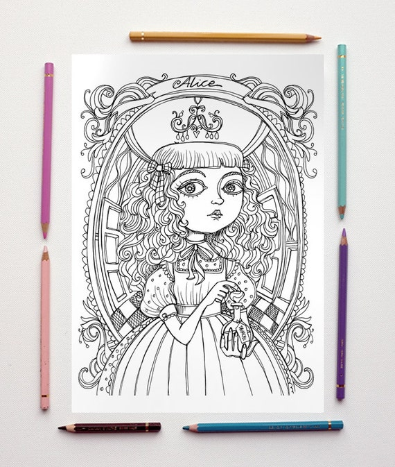 coloring page pdf alice in wonderland drink me lewis carroll instant download art printable illustration from mrspeggottyarts on etsy studio