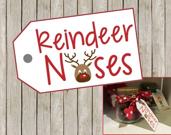 Christmas gift tags: REINDEER NOSES