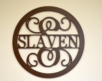 "24"" Wooden Monogram - Unpainted Vine Script Monogram - Family Name-  Wedding Monogram - Wreath - Door Hanging - Wall Decor - Wall monogram"