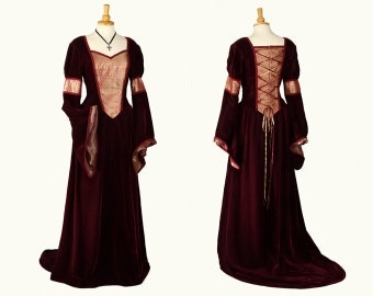 Medieval / Renaissance style velvet gown - Claret & Gold, Alternative Bridal / Handfasting