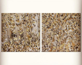 "Original Abstract Texture Palette Knife Acrylic Painting ""VANILLA SPIKELETS"" ."