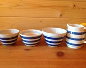 Three vintage blue and white ceramic pudding basins and matching one pint jug- Staffordshire Chef Ware - Cornish Style