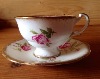 Orleans Rose -A rare  Royal Standard Fine Bone China Cupand Saucer with Roses 1950's Stunning