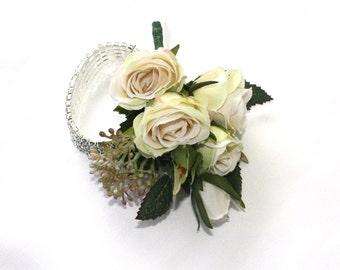 Corsage Bracelet - Lady's Diamante Bracelet Corsage with Cream Roses