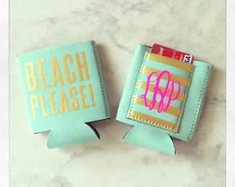 Personalized Beach Please insulated drink hugger with pocket