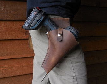 Leather Drill Holster- Custom snap pouch keeps your cordless drill close. The perfect tool belt accessory for carpentry and woodworking.