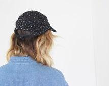 sequin HAT black baseball cap vtg 80's club hat